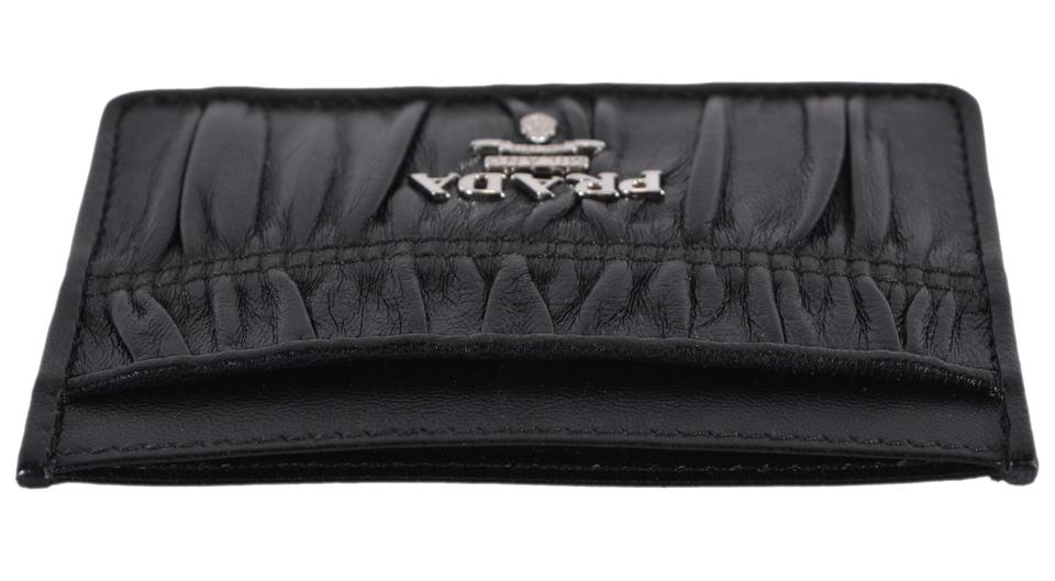 146d6d364c5f34 Prada New Prada 1MC208 Black Ruched Calf Leather Metal Card Case Wallet  Image 6. 1234567