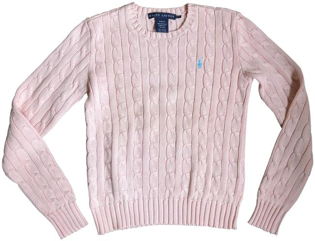 Item - Classic Cable Knit Crew Neck Light Pink Sweater