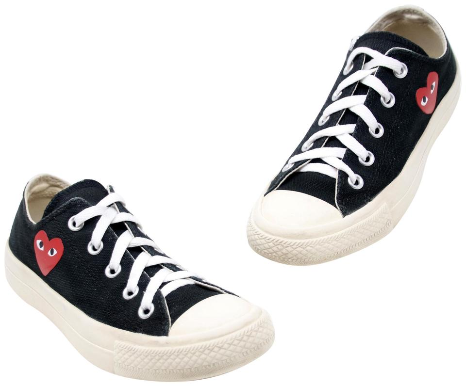 38f7c6bdb6fd COMME des GARÇONS Black White X Converse Low Top Canvas Logo Cap Toe  Sneakers Sneakers