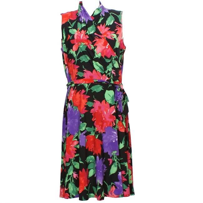 Item - Black Multi Jersey Floral Stretch Belted Surplice Sleeveless 1x Short Casual Dress Size 20 (Plus 1x)