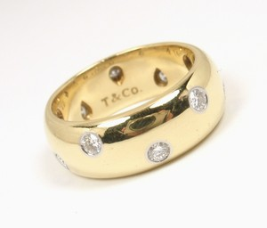 Tiffany & Co. Etoile 18k Gold Platinum Diamond Wide Band Ring