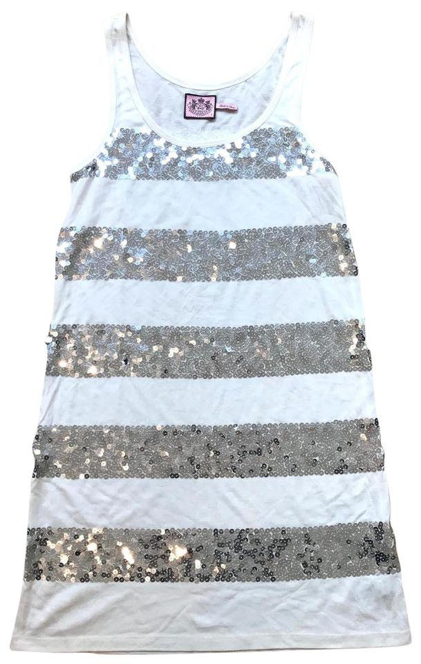 811d0e066c7c Juicy Couture White Silver Sequence Tank Top Short Casual Dress Size ...