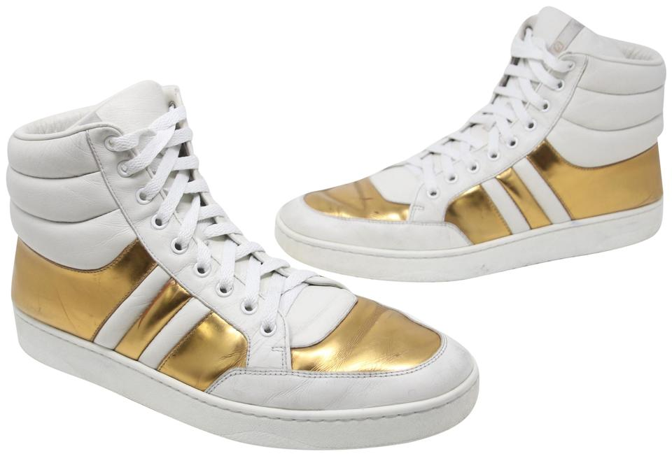 Gucci White Metallic Gold Padded Leather High Top Lace Up Men\u0027s 10 Sneakers  Size US 11 Regular (M, B) 61% off retail