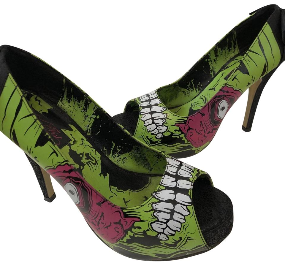 Iron Fist Multicolor Walker Zombie Stomper Green Bow Peep Toe Heels Goth Punk Rock Platforms Size EU 40 (Approx. US 10) Regular (M, B) 48% off retail