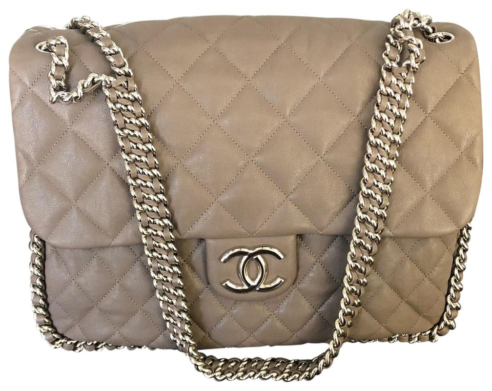564633d02327d0 Chanel Quilted Chain Around Maxi Flap Taupe Lambskin Leather ...