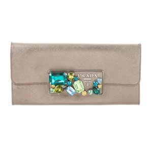 Prada Metallic Saffiano Leather Wallet Clutch With Stone Embellishment