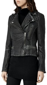 AllSaints Motorcycle Biker Cargo Leather Jacket