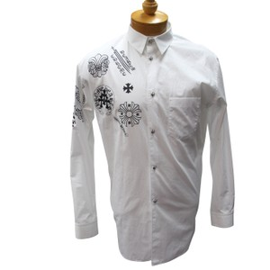 82eb64232c66 Chrome Hearts Button Up Business Attire Uk Style Streetwear Button Down Shirt  White Black