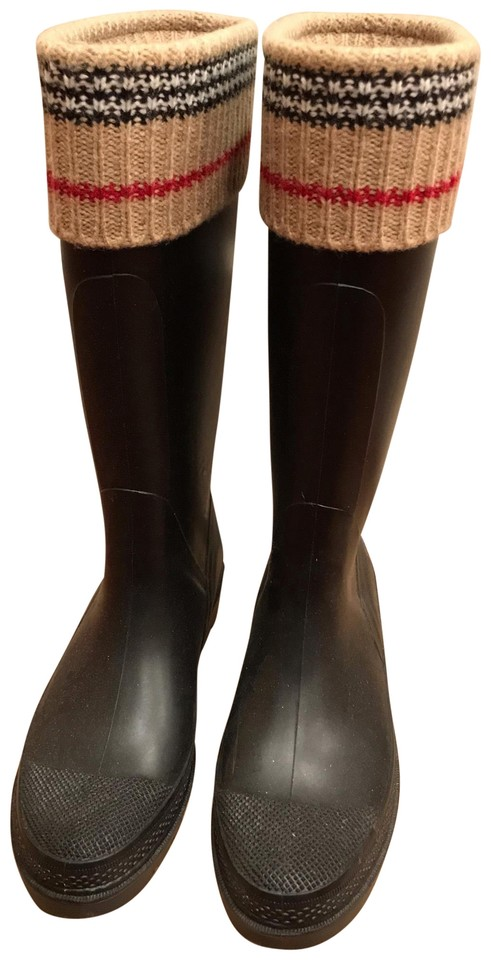 ff2f6d341ddf3 Burberry Black Rain Boots/Booties Size EU 38 (Approx. US 8) Regular ...