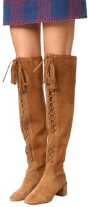 Michael Kors Collection Siede Lace Up Over The Knee Camel Boots