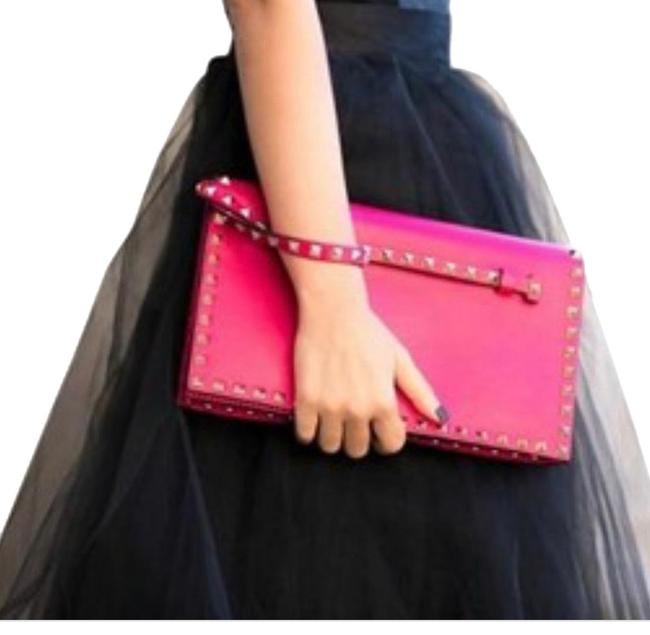 Item - And Studs Pink/Green/Gold Leather Clutch