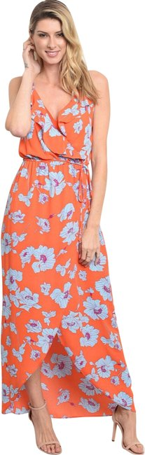 Item - Orange Blue Floral Long Casual Maxi Dress Size 12 (L)