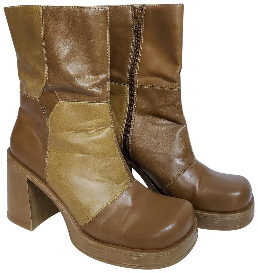 db0b4a5a8f66 L.E.I. Tan Vintage 90 s Style Patchwork Faux Leather Platform Ankle Boots  Booties