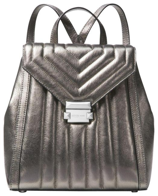 Item - New Whitney Quilted Strips Metallic Dark Silver Leather Backpack