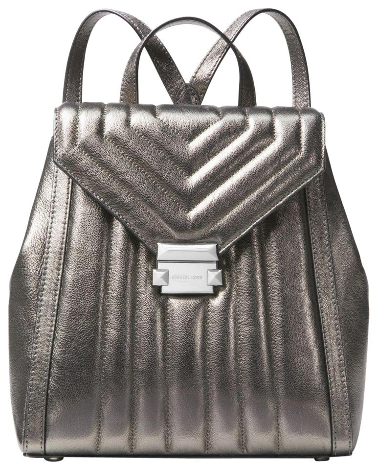 180b10992f8026 Michael Kors New Whitney Quilted Strips Metallic Dark Silver Leather ...