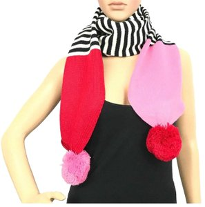 Kate Spade Kate Spade Stripe Pom Pom Long Scarf Charm Red Black White