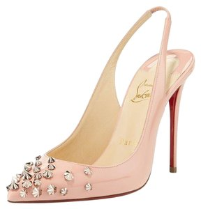 Christian Louboutin Sling Spike Patent Leather Drama Studded Pink Pumps