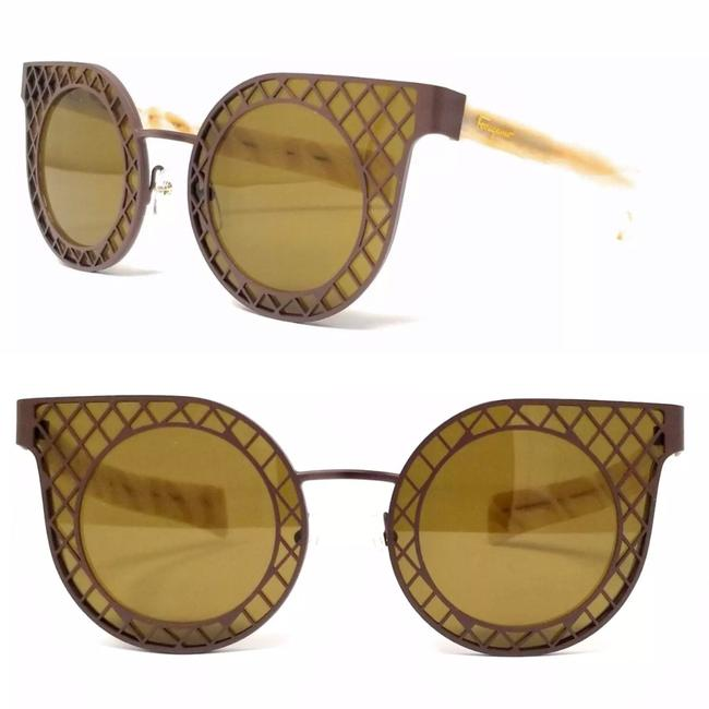 Salvatore Ferragamo Matte Brown-ivory Rounded Cat Eye Sf171s Sunglasses Salvatore Ferragamo Matte Brown-ivory Rounded Cat Eye Sf171s Sunglasses Image 1