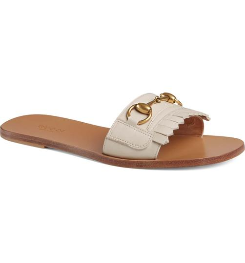 Gucci Rockstud Studded Flat Slide white Sandals