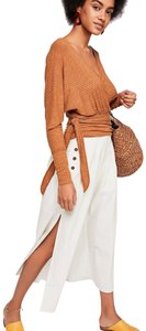 Free People Ribbed Wrap Cropped Vneck Sweater