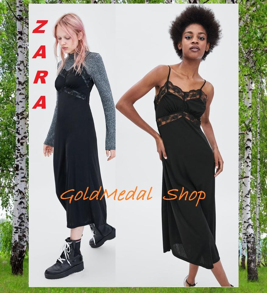 b0d45d1b Zara Black Combined Lace Long Camisole New Mid-length Night Out Dress Size  8 (M) - Tradesy