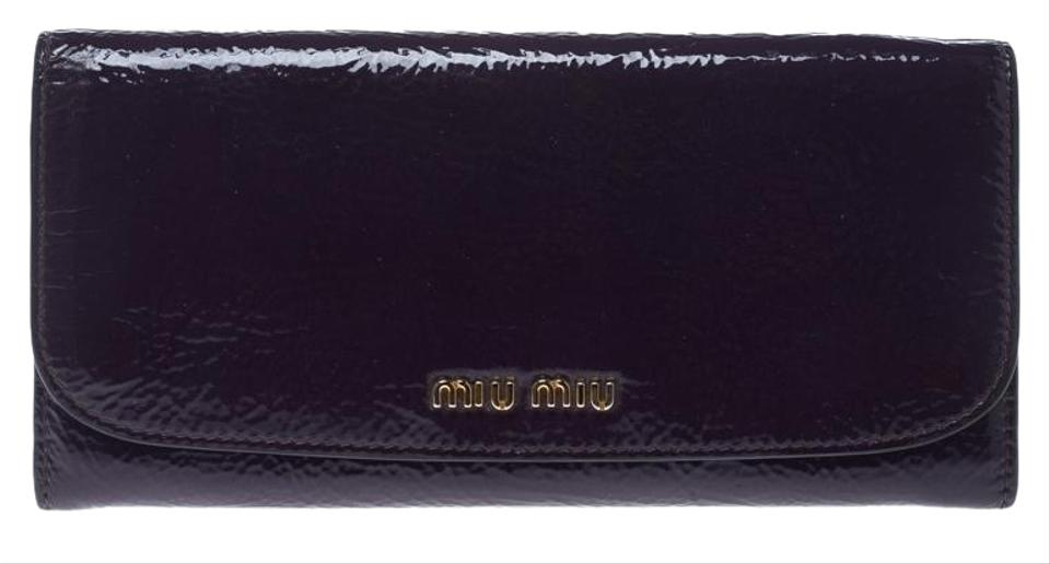 4efbf7e8abf4 Miu Miu Purple Patent Leather Continental Wallet - Tradesy