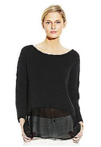 Vince Camuto Jewel Neck Tunic Chiffon Sweater