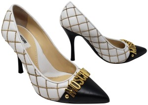 Moschino Gold Hardware Quilted Logo Letters Pointed Toe White Pumps