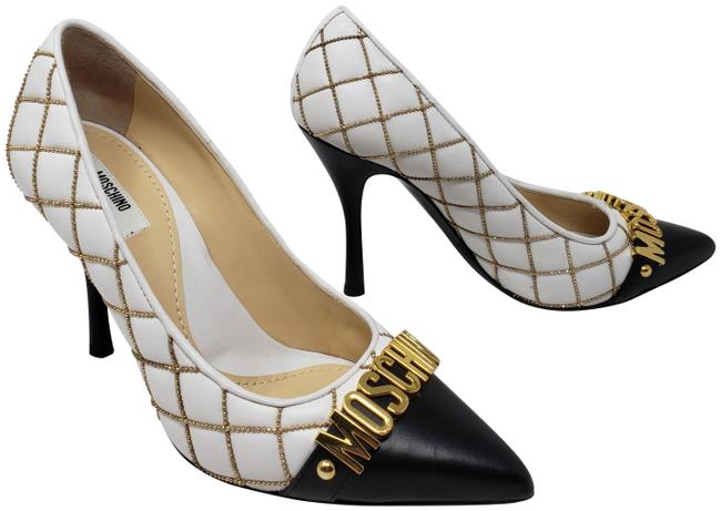 Item - White Quilted Leather Letter Logo Pumps Size EU 38 (Approx. US 8) Regular (M, B)