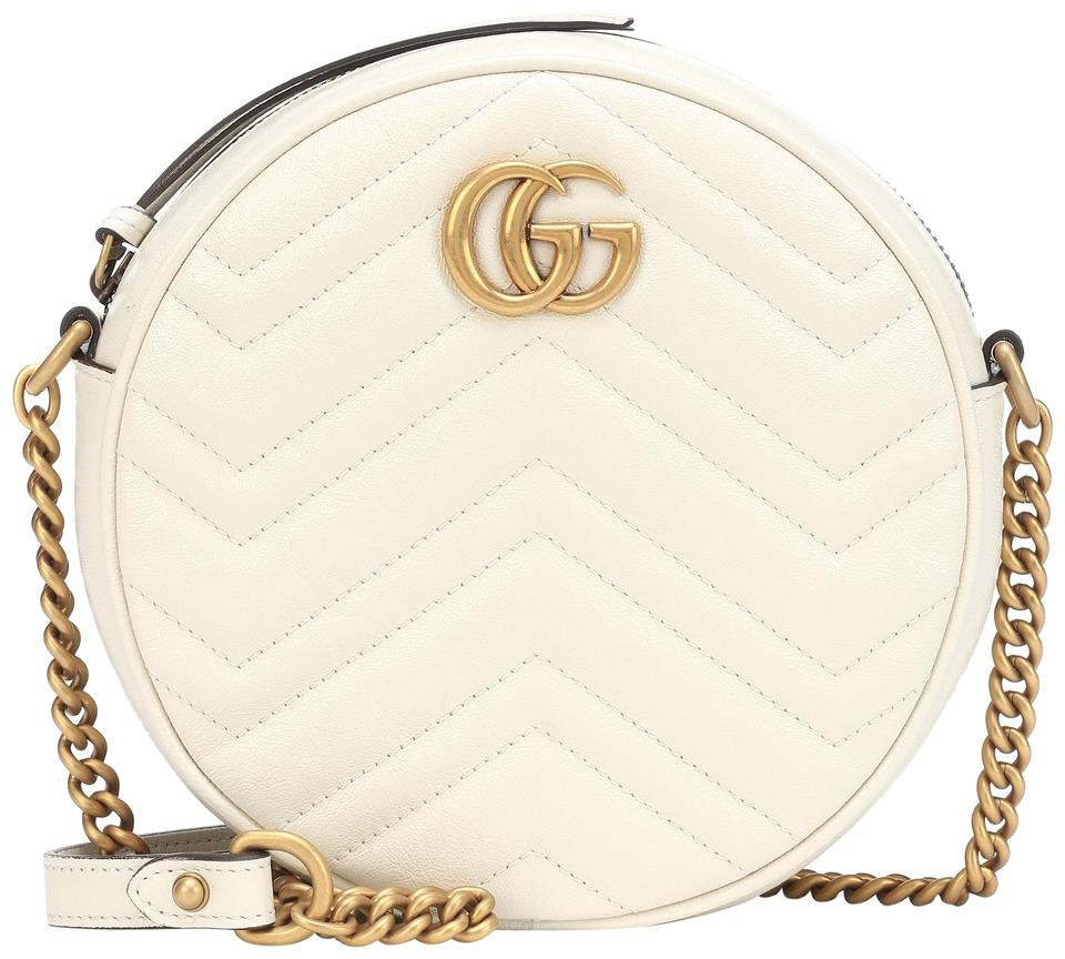 d9ebced6c Gucci Marmont Gg Mini Round White Shoulder Bag