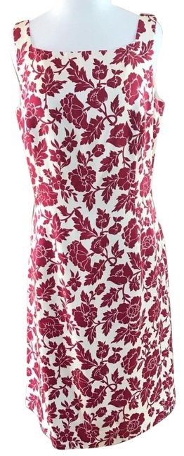 Item - Deep Red Floral Long Work/Office Dress Size 12 (L)