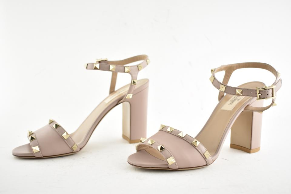 11c32726c96a Valentino Studded Pointed Toe Leather Ankle Strap Branded Insole Nude Pumps  Image 9. 12345678910