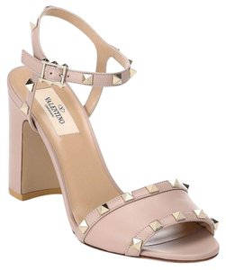 Valentino Studded Pointed Toe Leather Ankle Strap Branded Insole Nude Pumps