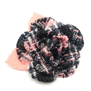 Chanel Tweed Camellia Flower Pin Brooch