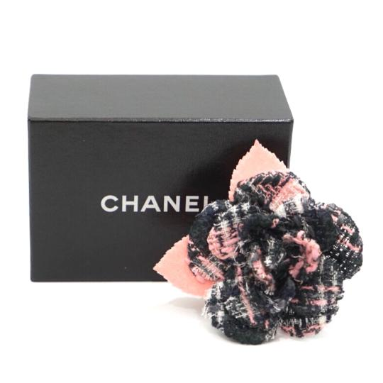 Chanel Tweed Camellia Flower Pin Brooch Image 1