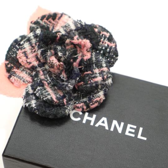 Chanel Tweed Camellia Flower Pin Brooch Image 2