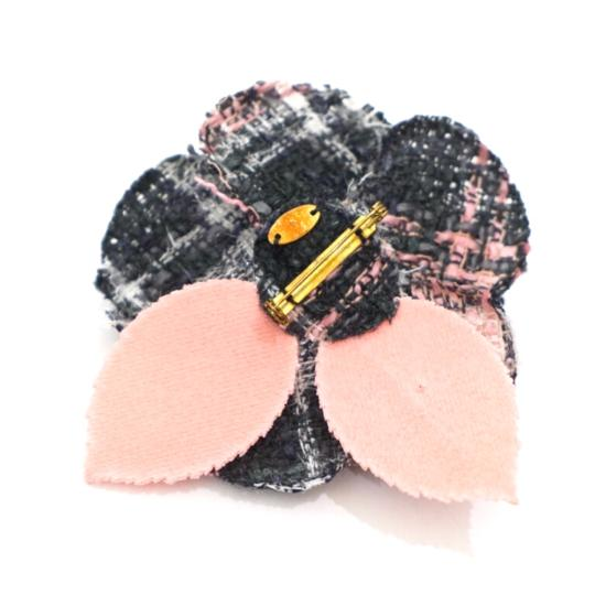 Chanel Tweed Camellia Flower Pin Brooch Image 5