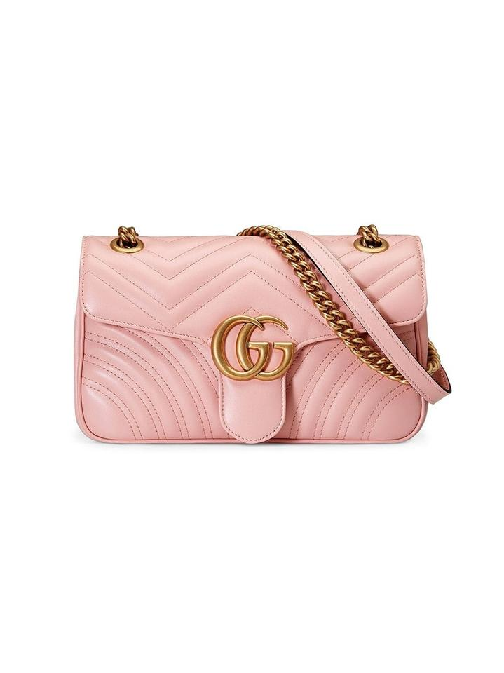 752ca56884e8 Gucci Marmont New Small Matelasse Pink Leather Shoulder Bag - Tradesy
