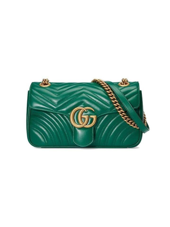 328779aeaa5 Gucci Marmont New Small Matelasse Green Leather Shoulder Bag - Tradesy