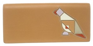 Tod's Tan Leather Radar Detail Long Wallet