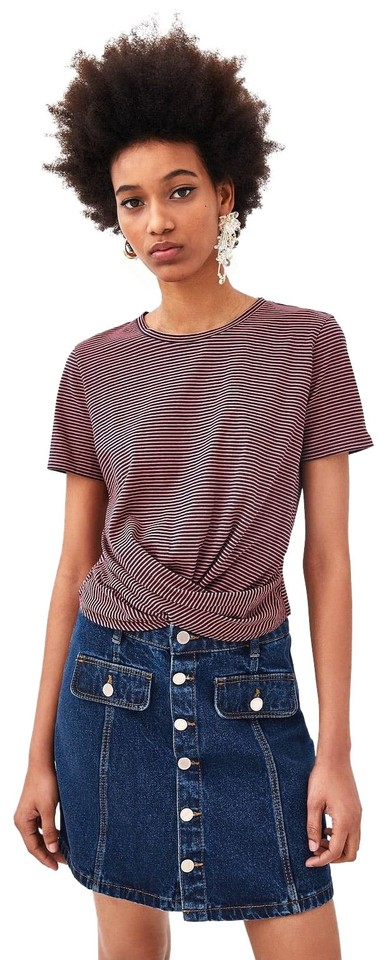 150fedba2bf Zara Purple Knotted Front Shortened Sleeve New Striped Tee Shirt ...