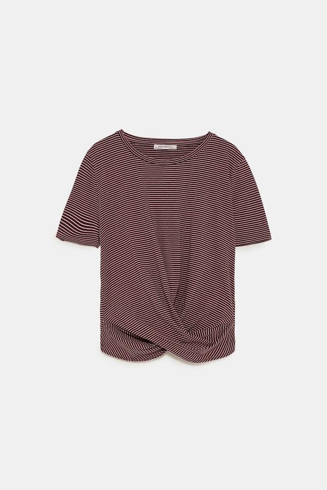 d8a0ca7d Zara Purple Knotted Front Shortened Sleeve New Striped Tee Shirt ...