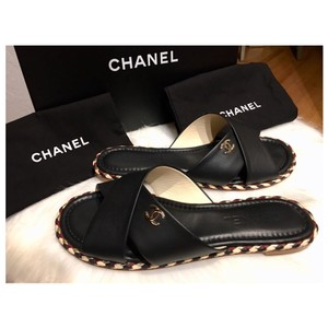 52362fe04 Chanel Black Braided Lambskin Slip On Sandals Orig. Box -rev ...