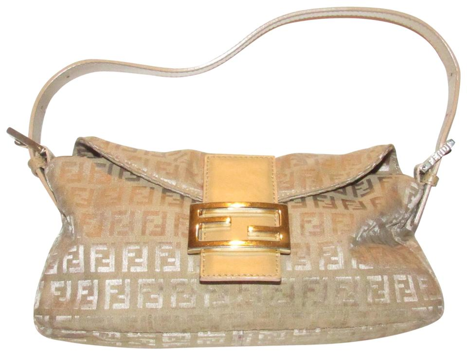 45b112bd Fendi Baguette Style Purse Metallic Zucchino Or Small F Logo Print On Tan  Or Gold Canvas and Tan Leather Shoulder Bag