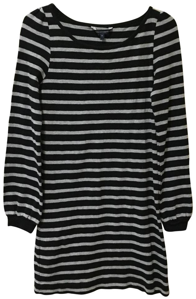 454dd9f6882 French Connection Black/Gray Long Sleeve Stripe Short Casual Dress ...