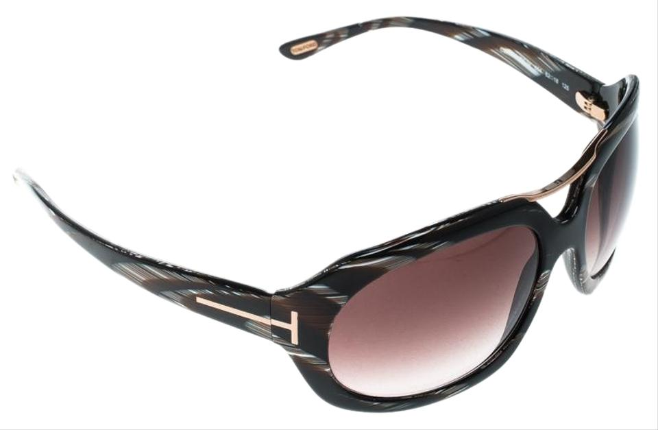 5afaeb0db23c Tom Ford Brown Horn Brown Gradient TF24 Camilla Round Sunglasses Image 0 ...