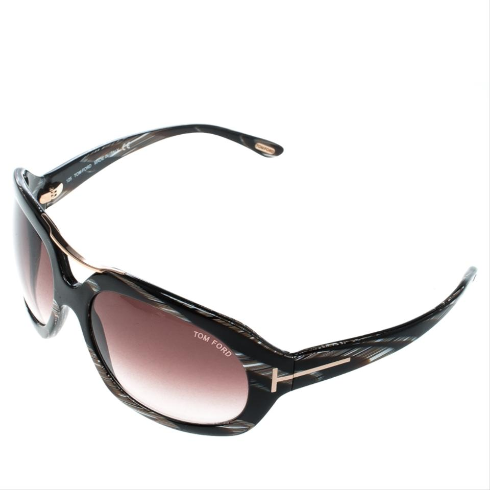 78190b303f88 Tom Ford Brown Horn Brown Gradient Tf24 Camilla Round Sunglasses ...