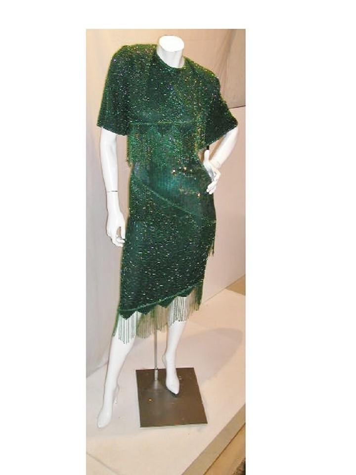 Just Female Emerald/Green W Half Sleeve W/Asymmetrical Top To Bottom Fringe  Mid-length Night Out Dress Size 24 (Plus 2x) 63% off retail