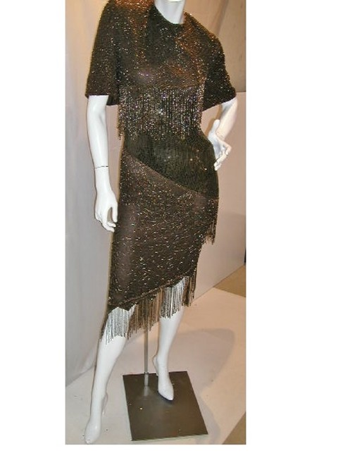 Item - Gold/Brown Half Sleeve A-cemetrical Fringe From Top To Hem Mid-length Night Out Dress Size 20 (Plus 1x)
