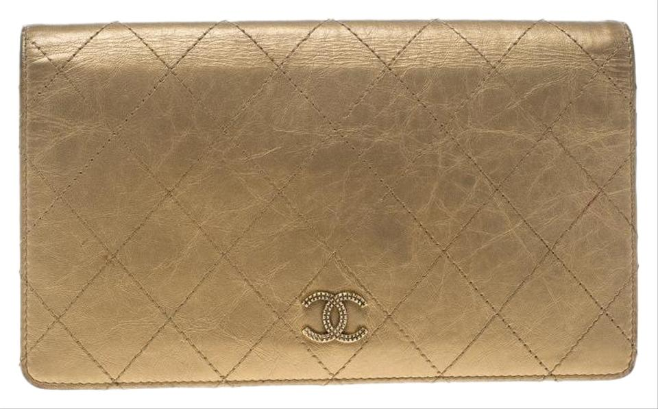 a03322401042 Chanel Gold Quilted Leather Classic Bifold Continental Wallet - Tradesy